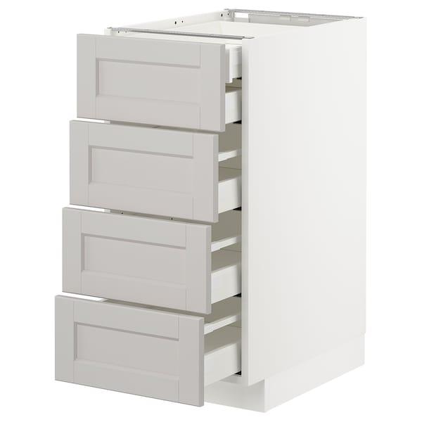 METOD Base cb 4 frnts/2 low/3 md drwrs, white/Lerhyttan light grey, 40x60 cm