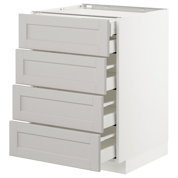 METOD Base cb 4 frnts/2 low/3 md drwrs, white/Lerhyttan light grey, 60x60 cm