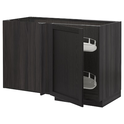 METOD corner base cab w pull-out fitting black/Lerhyttan black stained 127.5 cm 67.5 cm 88.0 cm 80.0 cm
