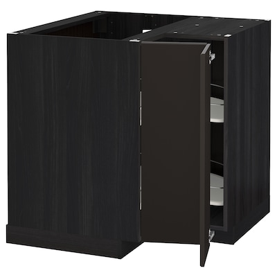 METOD Corner base cabinet with carousel, black/Kungsbacka anthracite, 88x88 cm