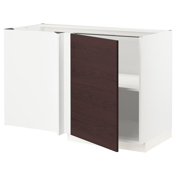 METOD Corner base cabinet with shelf, white Askersund/dark brown ash effect, 128x68 cm