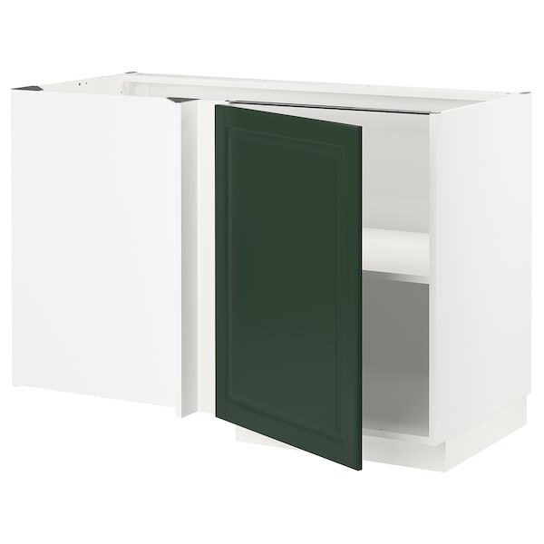 METOD Corner base cabinet with shelf, white/Bodbyn dark green, 128x68 cm