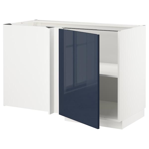 METOD Corner base cabinet with shelf, white/Järsta black-blue, 128x68 cm