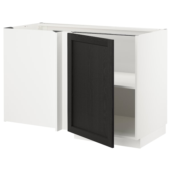 METOD Corner base cabinet with shelf, white/Lerhyttan black stained, 128x68 cm