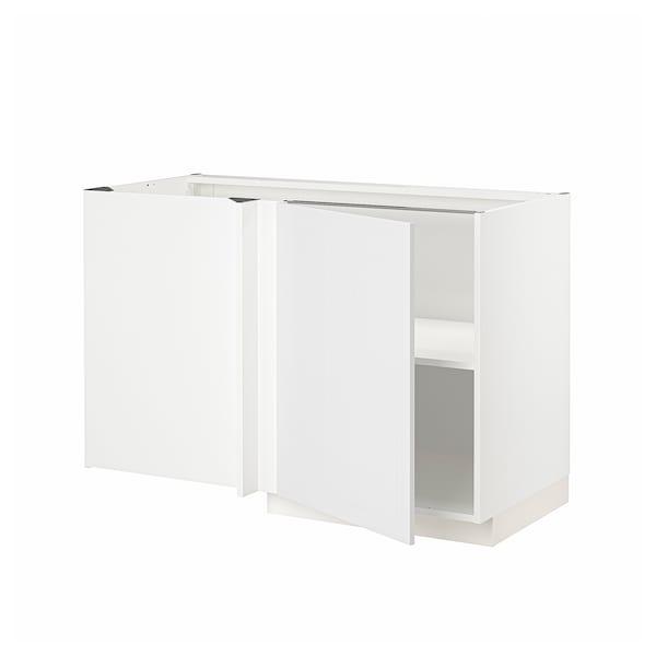 METOD Corner base cabinet with shelf, white/Stensund white, 128x68 cm