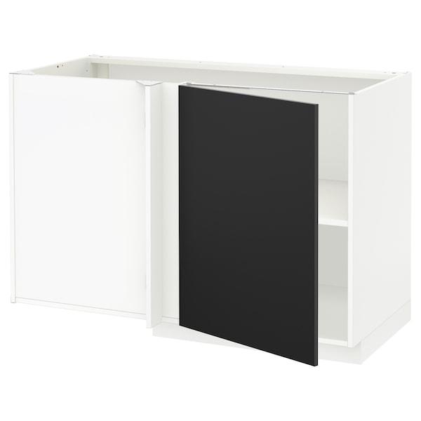 METOD Corner base cabinet with shelf, white/Uddevalla anthracite, 128x68 cm