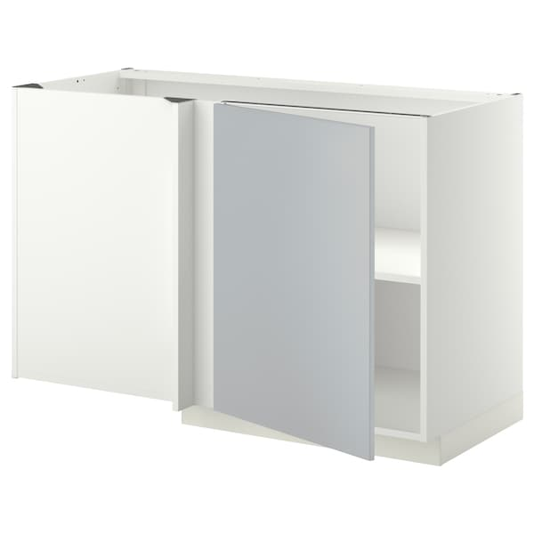 METOD Corner base cabinet with shelf, white/Veddinge grey, 128x68 cm