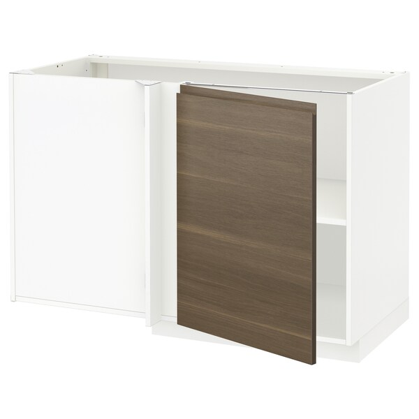 METOD Corner base cabinet with shelf, white/Voxtorp walnut effect, 128x68 cm