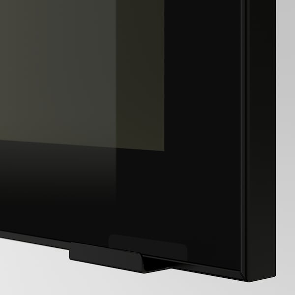 METOD Corner wall cab w shelves/glass dr, black/Jutis smoked glass, 68x100 cm