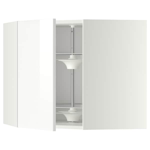 METOD Corner wall cabinet with carousel, white/Ringhult white, 68x60 cm