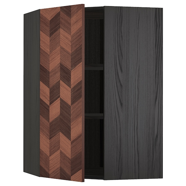 METOD Corner wall cabinet with shelves, black Hasslarp/brown patterned, 68x100 cm