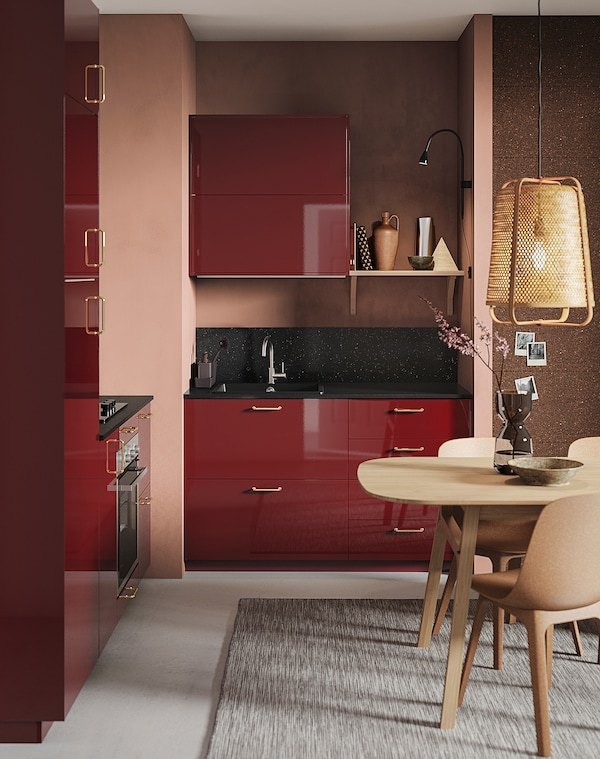 METOD Corner wall cabinet with shelves, black Kallarp/high-gloss dark red-brown, 68x100 cm