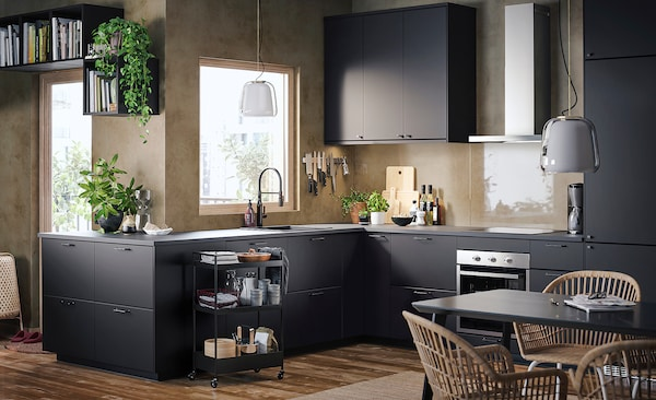 METOD Corner wall cabinet with shelves, black/Kungsbacka anthracite, 68x100 cm