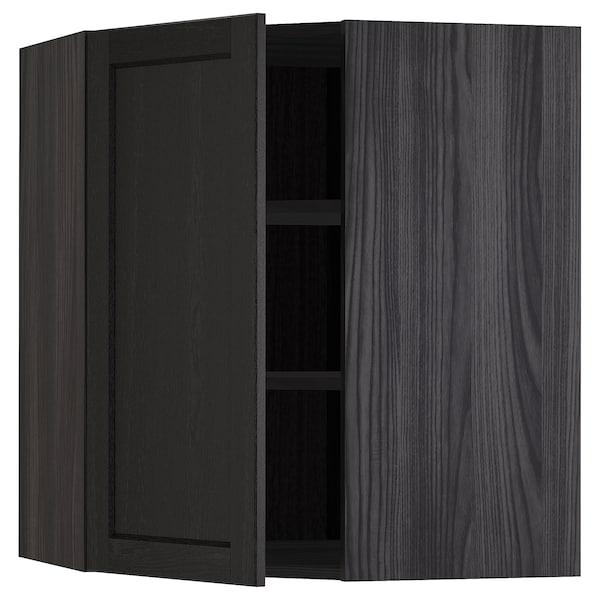 METOD Corner wall cabinet with shelves, black/Lerhyttan black stained, 68x80 cm