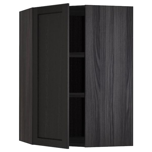 METOD Corner wall cabinet with shelves, black/Lerhyttan black stained, 68x100 cm