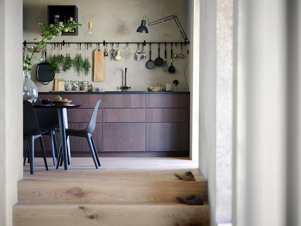 METOD Corner wall cabinet with shelves, black/Sinarp brown, 68x100 cm