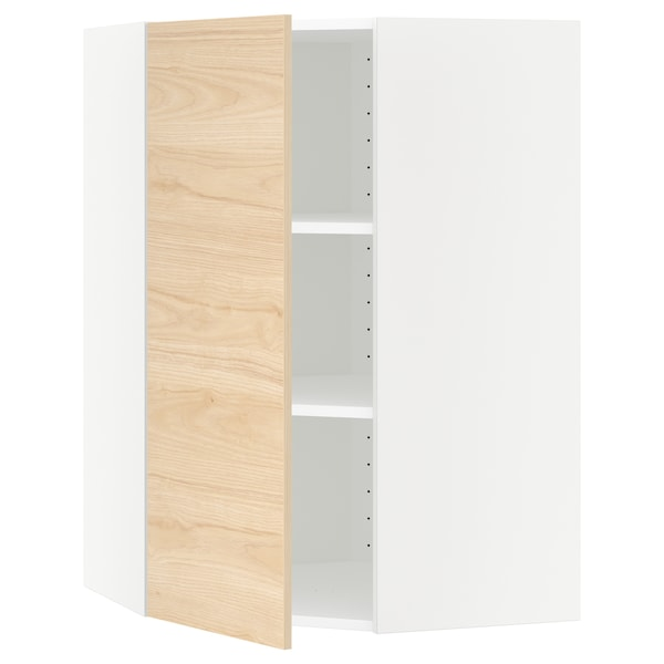 METOD Corner wall cabinet with shelves, white/Askersund light ash effect, 68x100 cm