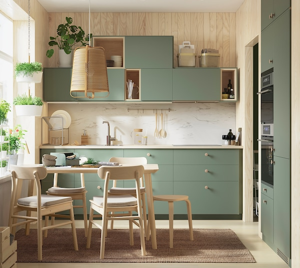 METOD Corner wall cabinet with shelves, white/Bodarp grey-green, 68x100 cm