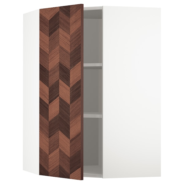 METOD Corner wall cabinet with shelves, white Hasslarp/brown patterned, 68x100 cm