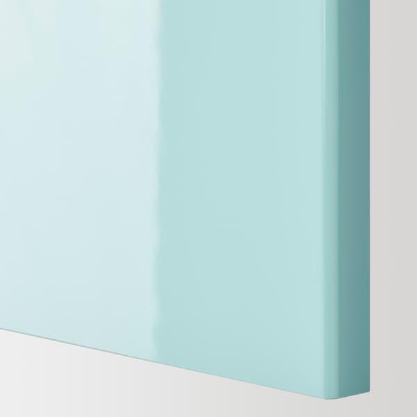 METOD Corner wall cabinet with shelves, white Järsta/high-gloss light turquoise, 68x100 cm