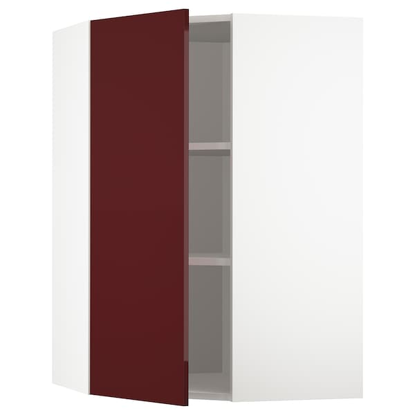 METOD Corner wall cabinet with shelves, white Kallarp/high-gloss dark red-brown, 68x100 cm
