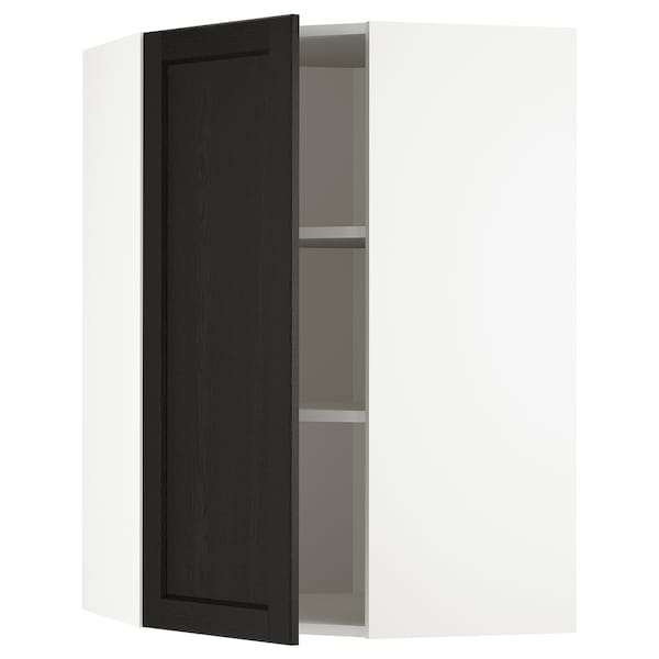 METOD Corner wall cabinet with shelves, white/Lerhyttan black stained, 68x100 cm