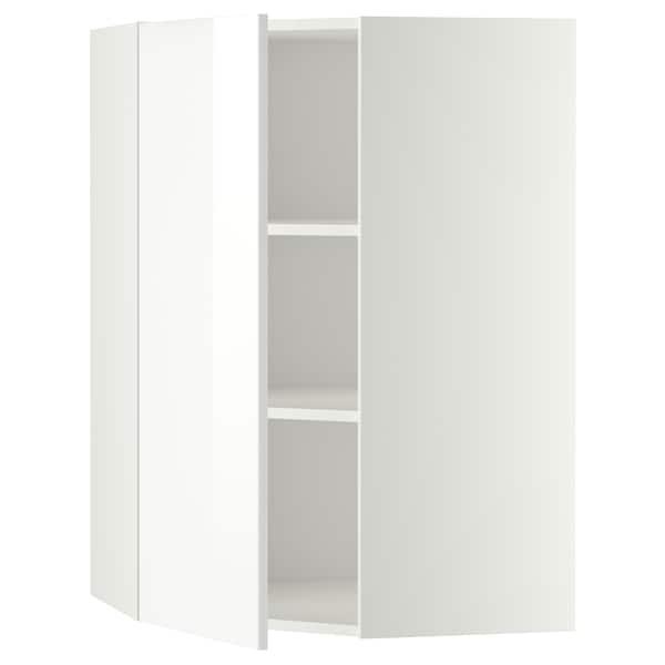 METOD Corner wall cabinet with shelves, white/Ringhult white, 68x100 cm