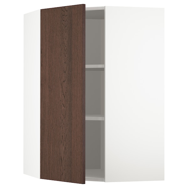 METOD Corner wall cabinet with shelves, white/Sinarp brown, 68x100 cm