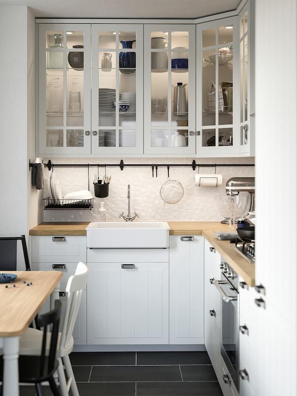 METOD Corner wall cabinet with shelves, white/Stensund white, 68x100 cm
