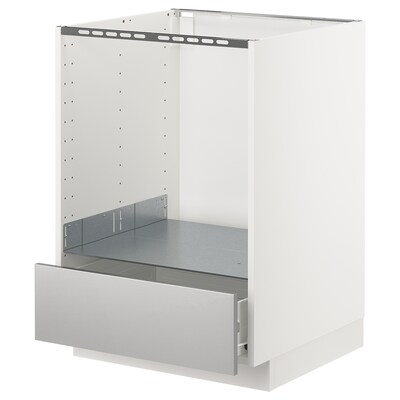METOD / FÖRVARA base cabinet for oven with drawer white/Grevsta stainless steel 60.0 cm 61.6 cm 88.0 cm 60.0 cm 80.0 cm