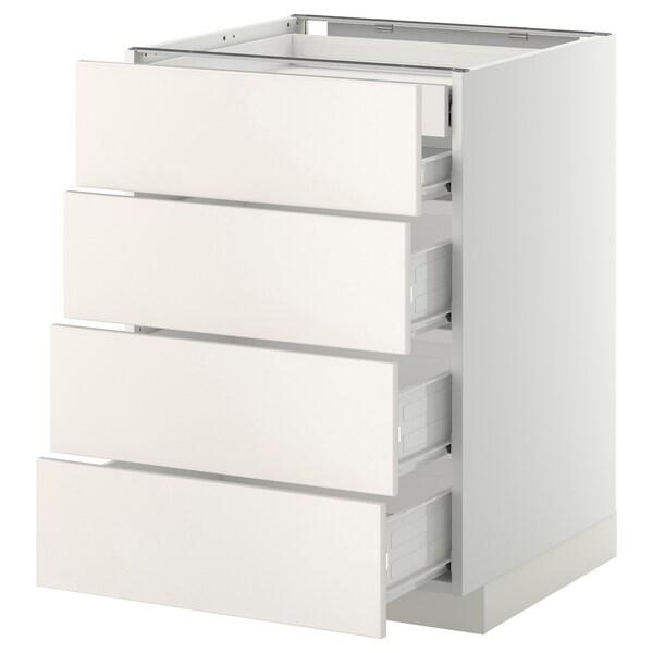METOD / FÖRVARA base cb 4 frnts/2 low/3 md drwrs white/Veddinge white 60.0 cm 61.6 cm 88.0 cm 60.0 cm 80.0 cm