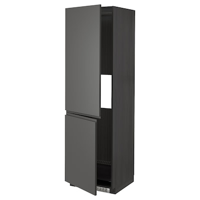 METOD hi cab f fridge or freezer w 2 drs black/Voxtorp dark grey 60.0 cm 61.6 cm 208.0 cm 60.0 cm 200.0 cm