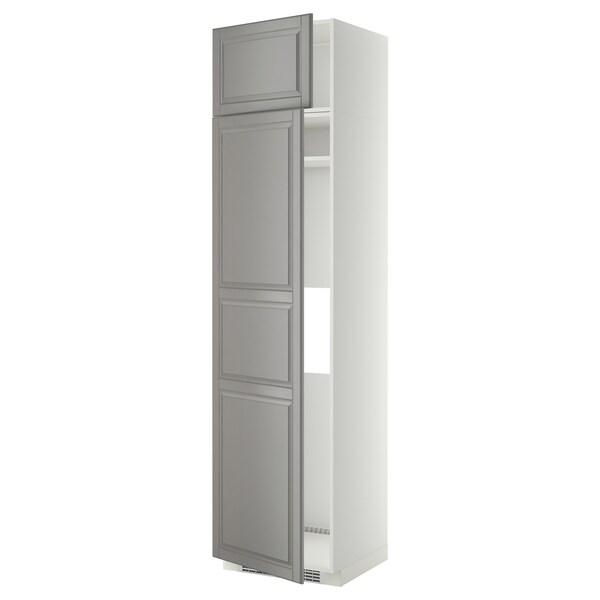 METOD hi cab f fridge or freezer w 2 drs white/Bodbyn grey 60.0 cm 61.9 cm 248.0 cm 60.0 cm 240.0 cm