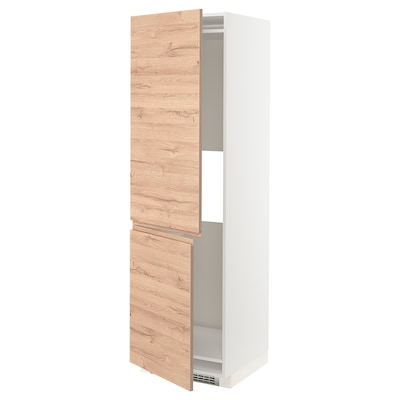 METOD Hi cab f fridge or freezer w 2 drs, white/Voxtorp oak effect, 60x60x200 cm