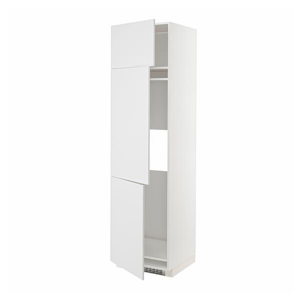 METOD High cab f fridge/freezer w 3 doors, white/Stensund white, 60x60x220 cm