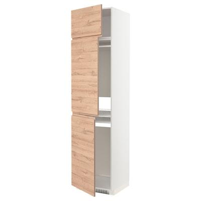 METOD High cab f fridge/freezer w 3 doors, white/Voxtorp oak effect, 60x60x240 cm