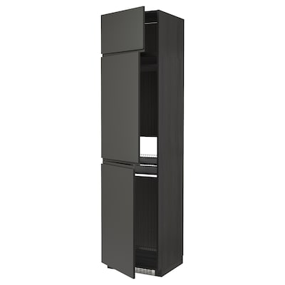 METOD high cab f fridge/freezer w 3 doors black/Voxtorp dark grey 60.0 cm 62.1 cm 248.0 cm 60.0 cm 240.0 cm
