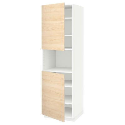 METOD high cab f micro w 2 doors/shelves white/Askersund light ash effect 60.0 cm 61.6 cm 208.0 cm 60.0 cm 200.0 cm
