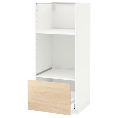 METOD high cab for oven/micro w drawer white/Askersund light ash effect 60.0 cm 61.6 cm 148.0 cm 60.0 cm 140.0 cm