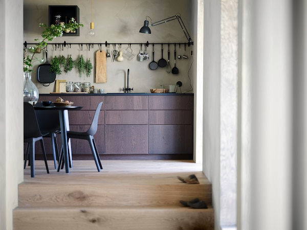 METOD High cabinet for fridge/freezer, white/Sinarp brown, 60x60x140 cm