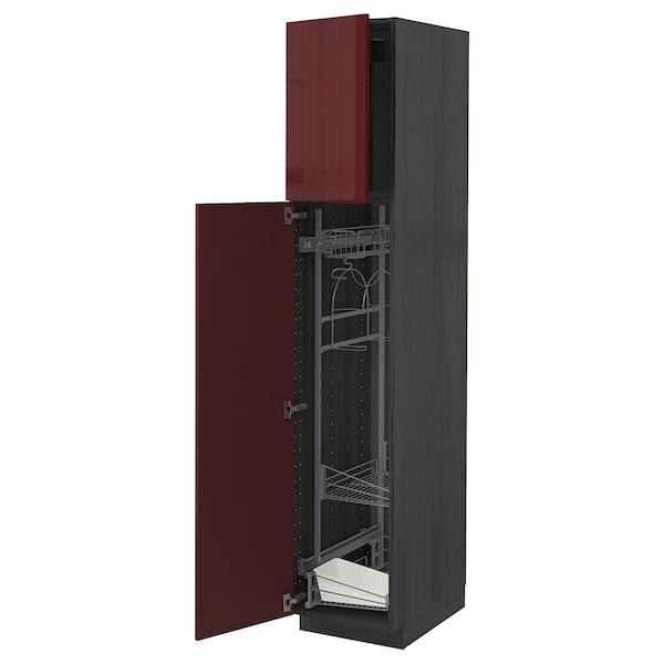 METOD High cabinet with cleaning interior, black Kallarp/high-gloss dark red-brown, 40x60x200 cm