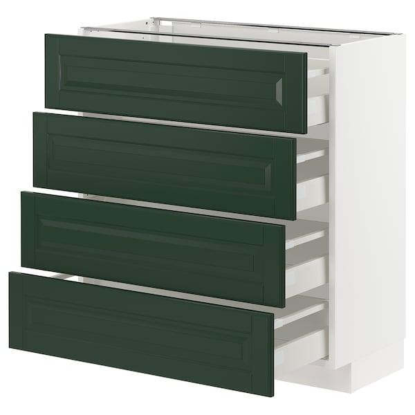 METOD / MAXIMERA Base cab 4 frnts/4 drawers, white/Bodbyn dark green, 80x37 cm