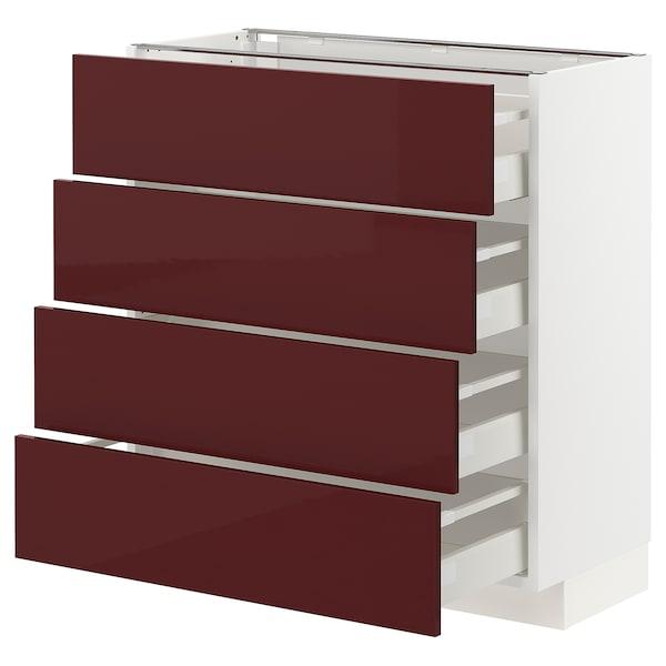 METOD / MAXIMERA Base cab 4 frnts/4 drawers, white Kallarp/high-gloss dark red-brown, 80x37 cm