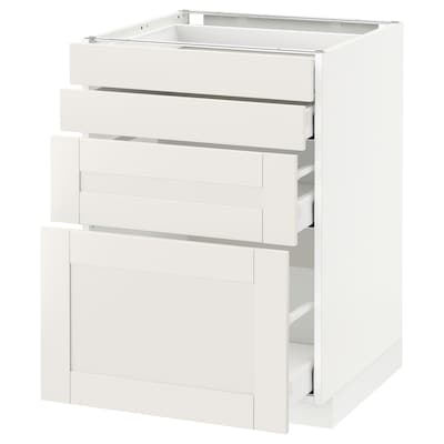 METOD / MAXIMERA Base cab 4 frnts/4 drawers, white/Sävedal white, 60x60 cm