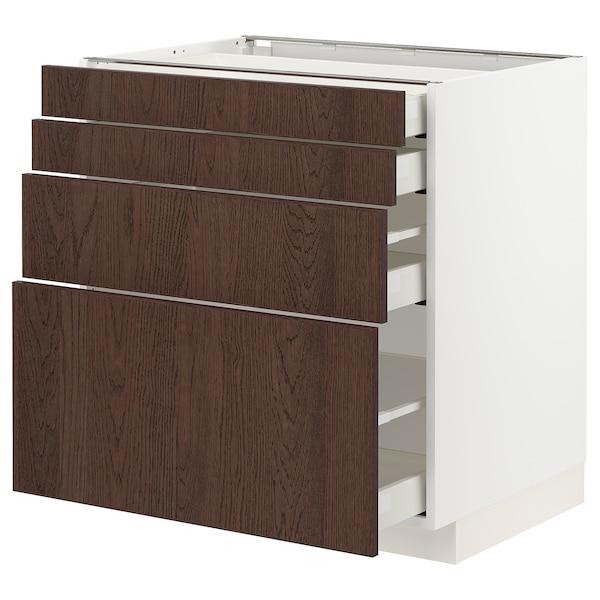 METOD / MAXIMERA Base cab 4 frnts/4 drawers, white/Sinarp brown, 80x60 cm