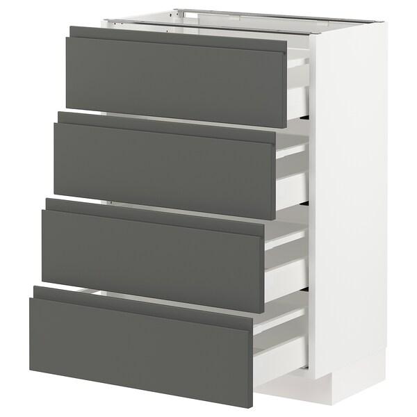 METOD / MAXIMERA Base cab 4 frnts/4 drawers, white/Voxtorp dark grey, 60x37 cm