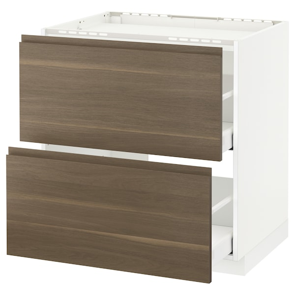 METOD / MAXIMERA Base cab f hob/2 fronts/2 drawers, white/Voxtorp walnut, 80x60 cm