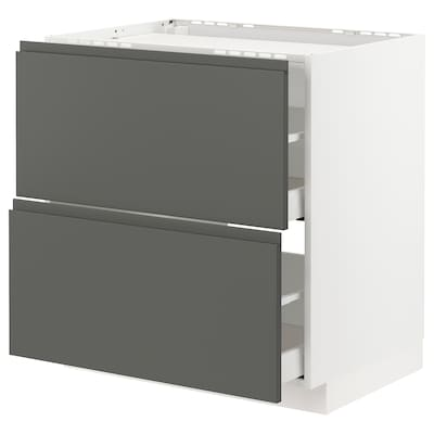 METOD / MAXIMERA base cab f hob/2 fronts/2 drawers white/Voxtorp dark grey 80.0 cm 62.1 cm 88.0 cm 60.0 cm 80.0 cm