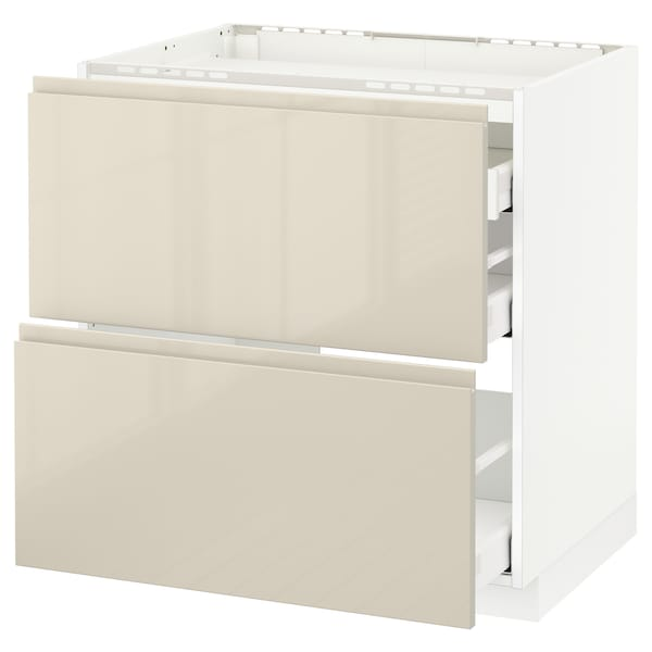 METOD / MAXIMERA Base cab f hob/2 fronts/3 drawers, white/Voxtorp high-gloss light beige, 80x60 cm