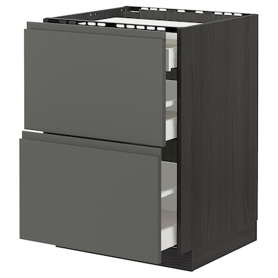 METOD / MAXIMERA base cab f hob/2 fronts/3 drawers black/Voxtorp dark grey 60.0 cm 62.1 cm 88.0 cm 60.0 cm 80.0 cm
